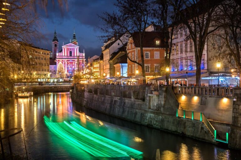 Old city centre of Ljubljana by night. Photo by Arne Hodalic