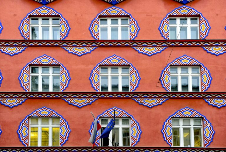 Pattern of interesting facades in Ljubljana's city centre. Photo by Arne Hodalic